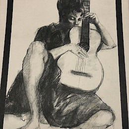 Original? signed drawing made by Gerald Fairclough for Goya guitars!
