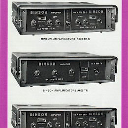 Binson Amplificatore A608 TR-S, A609 TR, A609 TR-S doublesided flyer - Italian, English, French, German 24,5x17cm - 19 euro!