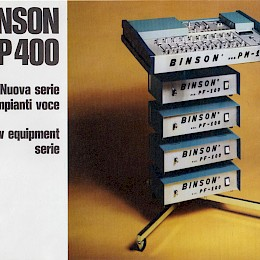 Binson P400, PM10, PF100 folded brochure 4 pages - Italian, English, French, German 24,5x17cm - 29 euro!