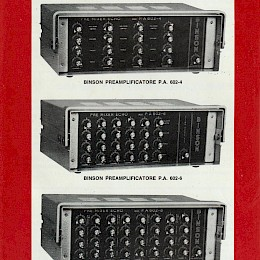 Binson Preamplificatore PA602-4, PA602-6, PA602-8 folded brochure 4 pages - Italian, English, French, German 24,5x17cm - 29 euro!
