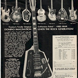 1967 Domino guitars Maurice Lipsky Magazine page add 1