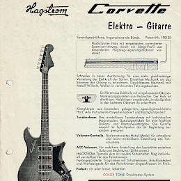1960s Hagstrom Corvette Impala guitar doubled side product flyer German 1