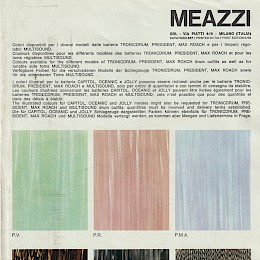 1969 Meazzi Hollywood catalog page on available drumkit colours 1