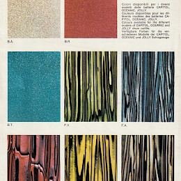 1969 Meazzi Hollywood catalog page on available drumkit colours 2
