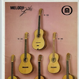 1985 Melody full line guitar bass folded brochure 1