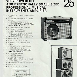 1970s Davoli Virus bass, Virus 50, Virus 25 double sided product flyer 4